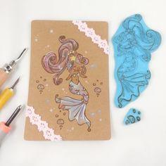 großer geschnitzter Stempel mit süßer Meerjungfrau Nixe Scrapbooking scrapbook handgemachter Stempel niedliches Mädchen Meer Wasser von Nesalis auf Etsy