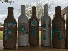 Upcycled bottles FAITH wrapped in jute rope by StacysHappyPlace
