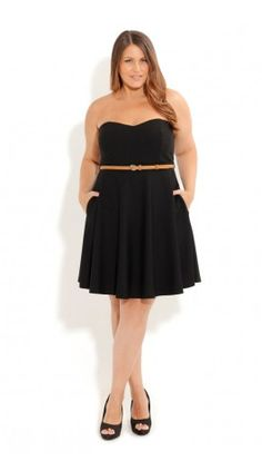 Plus Size Strapless Skater Dress - City Chic - City Chic