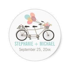 Tandem Bicycle Wedding Stickers