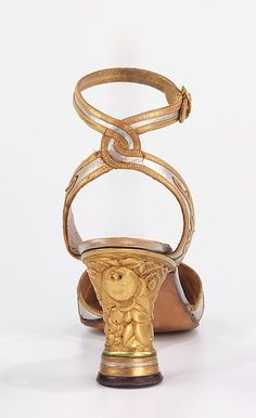 Evening sandals (image 2) | André Perugia | French | leather, metal | Brooklyn Museum Costume Collection at The Metropolitan Museum of Art | Accession Number: 2009.300.1612a, b