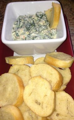 My version of skinny spinach dip. 2 cups plain nonfat yogurt, 8oz spinach (thawed & drained), 1 pack Knox vegetable dip mix,  pepper & garlic to taste