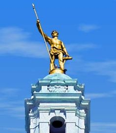 """""""The Independent Man"""" 1899 (aka The statue of """"Hope"""") - Rhode Island and Providence Plantations State motto - George T. Brewster, Sculpture - The statue was placed on the dome is 14' tall, weighs 500 pounds and is gilded (gold leaf) bronze."""