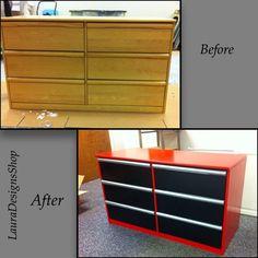 I turned this plain dresser into a craftsman tool box dresser. Snap on dresser