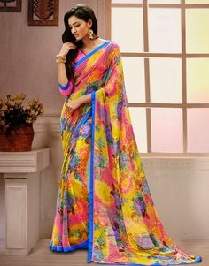 Yellow Georgette Printed Saree With Blouse 58191