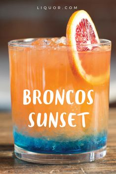 You don't have to be a football fan to love this #tequila cocktail, but it does help! For the Denver #Broncos, orange and blue are showcased with a mixture of deliciousness including blue curaçao, chile liqueur, tequila, campari, aperol, orange juice and more! Together they become a true Broncos Sunset!
