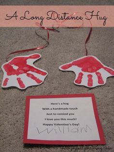 This simple and adorable craft is perfect for Valentine's Day! Stamp your child's hands to send a long distance hug. There's a free printable poem, too.