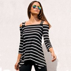 e6d8cdb50 Click to Buy << Summer Women T-shirt Asymmetrical Tunic Crop Basic Tops  Stripe Slash Neck Black Contrast White Female Tees Large Size Hot Sale  #Affiliate