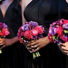 love these colors....bridesmaid bouquets, dark pink, dark purple, fuchsia, jewel tones, pink, purple