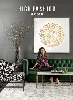 Superb The Decorating Guide for Home Decor Inspiration has arrived. Check out new Room Ideas from High Fashion Home's Summer 2015 Catalog.highfashionho… The post The Decorating Guide fo . Urban Deco, Deco Stickers, Green Sofa, Emerald Green Couch, Emerald Green Decor, Home Catalogue, High Fashion Home, New Room, Home Decor Inspiration