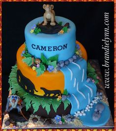 - *  Lion King Baby Shower - Fondant covered cake w/ fondant accents