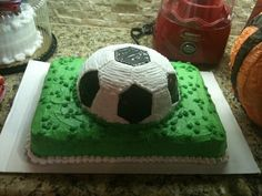 2 year olds Soccer Birthday Party 3-D Cake   Cake made by Brendal's Bakery - Rowlett, Texas  http://brendalscakes.com/ Produced by Simple Elegance Texas, L.L.C.