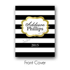 Personalized Black & White Stripe with Gold Cover for Erin Condren or Plum Paper Planner or Notebook by AshbrookeLaneDesigns