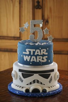 Fondant Star Wars Storm Trooper birthday cake