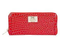 Portafoglio in pvc lavorazione croco con zip rosso - 20x10x3 cm