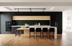 FreeDeeLab / TrzyDeLab: Black kitchen render - scene to learn more about interior lighting White Wood Kitchens, Timber Kitchen, Kitchen Cabinet Styles, Modern Kitchen Cabinets, Best Kitchen Designs, Modern Kitchen Design, Home Decor Kitchen, Kitchen Interior, Bulkhead Kitchen