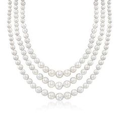 """Ross-Simons - 6-12mm Shell Pearl Layered Three-Strand Necklace With Sterling Silver. 18"""" - #884015"""
