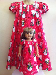 Matching Christmas Nightgown Set for Child and American Girl, Bitty Baby, My Twin, or Build a Bear. $50.00, via Etsy.