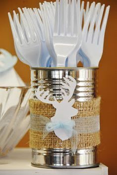 "Cute ""woodland"" utensil/straw holder...except I'm over burlap. Maybe lumberjack plaid?"