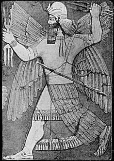 Marduk: Chief Babylonian God and son of water god Ea.  He was a warrior who slew Tiamat with wind and an arrow.  He used her body to create the earth and sky.