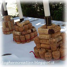 porta candele con riciclo creativo tappi del vino in sughero - wine cork craft