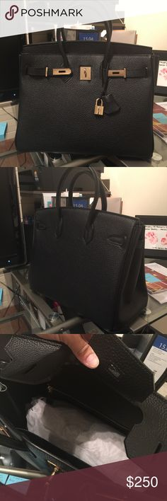 Black tote Bag Brand new. Comes with all packaging and tags. Dust bag. Also includes handle covers. Gold hardware. Smells like leather and is stiff like the real thing. 35cm. I also have a small brown one with gold hardware. Size 30cm. Brand new as well. Bags Totes