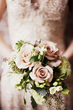 I love this color- those quick sand or antique roses with the green gives it that fairytale look I love! Wedding Bouquets Blush tones / soft hues