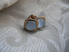 Vintage for Men  Blue Glass Correct Quality Gold Cufflinks | RosesHeirlooms - Jewelry on ArtFire