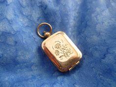 Unusual Vintage Silver Tone Locket - Watch Fob - Ink Stamp - Wax Sealer - Flower Design - Initial Wax Seal - Vintage Silver Locket Pendant by on Etsy