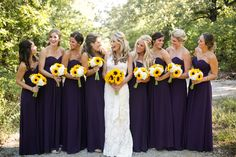 Sunflower Themed Wedding perfect, just with turquoise dresses instead