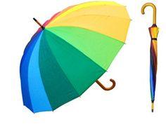 big rainbow colored umbrella