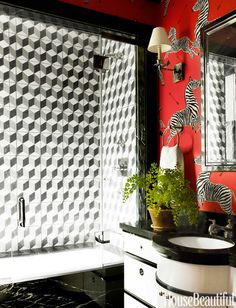 WHIMSICAL COMBO Graphic Escher tiles by Amethyst Artisan and zebra wallpaper elevate a kids' bath in an apartment decorated by Miles Redd. Bathroom Red, Decor, Bold Bathroom Tile, Bathroom Decor, Chic Bathrooms, Bedroom Room Decor Diy, Room Decor, Apartment Decor, Bathroom Design