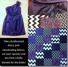 baby blanket made from bridesmaids dress