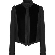 Lanvin Embellished velvet and wool-gabardine jacket (£2,475) ❤ liked on Polyvore featuring outerwear, jackets, coats, coats & jackets, lanvin, black, velvet jacket, gabardine jacket, wool jacket and black wool jacket