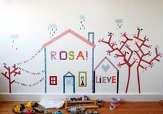 Washi Tape Mural - I love this fun and simple way to create a simple mural for your kid's room or a playroom. I think we'll try it out and make one in the kitchen for the holidays.