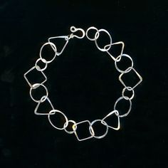 Cadena enlace esterlina plata pulsera cadena enlace círculos