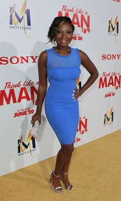 """Nauri Naughton was prety in blue as she came out to support her """"Power"""" co-star LaLa."""