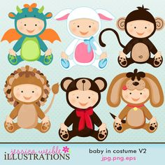Baby In Costume set comes with 6 cute babies in various costumes including: a baby dragon costume, a lamb costume, a monkey costume, a lion costume, a bear costume and a puppy costume. Clipart Baby, Cute Clipart, Puppy Costume, Bear Costume, Lamb Costume, Monkey Costumes, Baby Costumes, Cute Images, Cute Pictures