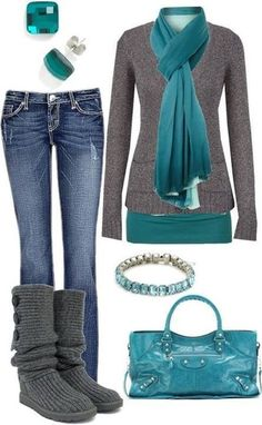 Would work with beige tall boots, guess teal shirt, grey button up cardigan, and teal pajmina scarf