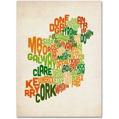 Trademark Art 'Ireland Text Map' Canvas Art by Michael Tompsett, Size: 14 x 19, Multicolor