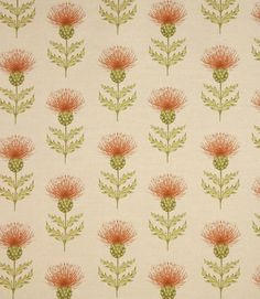 Thistle design fabric. This stylish fabric is great for creating a highland theme - see our how to section for ideas. Blair can also be used with Cairngorms. Check out our selection of balmoral tartans for coordinating fabrics. Made from a linen and cotton mix. A great upholstery fabric, would make a great statement chair.