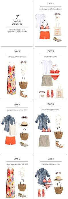 7 Days in Cancun : The Perfect Pieces for a Versatile Honeymoon Wardrobe One of the hardest parts about planning the honeymoon is figuring out what to pack! Here's my tips and suggestions on packing for 7 days in Cancun: Cancun Vacation, Vacation Packing, Travel Packing, Packing Lists, Summer Vacations, Travel Plane, Cruise Packing, Cruise Wear, Travel Wardrobe