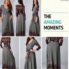 ️HP 11/7BOHEMIAN BLACK FAUX WRAP  MAXI This intricate, rich, black multi color Moroccan print is a stunner! Creams, blues, deep coral reds and golds create a beautiful mosaic. Made of polyester and spandex, you will love this dress!♦️PLUS SIZES @saundie2_plus♦️ tla2 Dresses