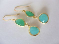 Palace Green And Amazonite Aqua Green Faceted Earrings by jojodebulmer