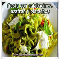 Pasta con calabacines, azafrán y pistachos