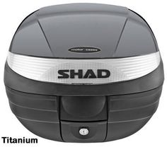 """Shad SH-29 motorcycle top case in titanium. Designed to attach to most flat luggage racks. Its dimensions are: 14.9"""" L x 15.7"""" W x 11.8"""" H   and has a 29 liter capacity. Your price is $125.95. With Free Shipping."""