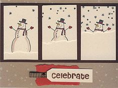 Way too fun! It's Snow Time - Christmas card by jenaye - Cards and Paper Crafts at Splitcoaststampers kids paint artlesson bildlektion snögubbe snowman winter vinter årstid Homemade Christmas Cards, Homemade Cards, Diy Christmas, Xmas Cards, Greeting Cards, Holiday Cards, Karten Diy, Snowman Cards, Shaker Cards