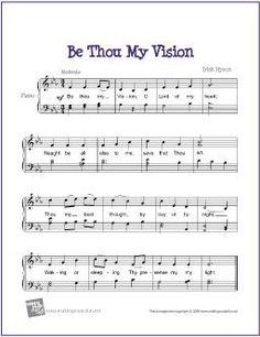 Be Thou My Vision (Hymn) | Free Sheet Music for Easy Piano - http://makingmusicfun.net/htm/f_printit_free_printable_sheet_music/be-thou-my-vision-piano.htm