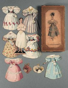 """English Boxed Paper Doll """"La Poupee Modele"""" by Ackermann. P&P: A paper doll in a box with clothes. These are pre-cut. Victorian Paper Dolls, Vintage Paper Dolls, Victorian Dollhouse, Modern Dollhouse, Old Paper, Paper Art, Paper Crafts, Old Dolls, Paper Toys"""