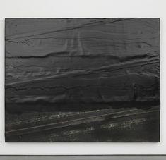 "Theaster Gates, ""Diagonal bitumen"" (2014), wood, rubber and tar"